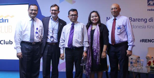 Peluncuran AXA Mandiri Press Club bersama President Director of AXA Mandiri Jean-Philippe Vandenschrick dan Kepala Departemen Pengawasan IKNB 1A OJK Yusman