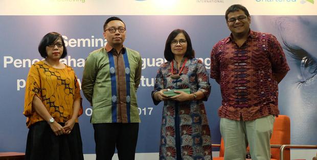 Prof. Rita Sita Sitorus (kedua dari kanan) bersama Dody Rochadi, Direktur HKI Indonesia Prateek Gupta, dan Champion SiB Tania Kansil