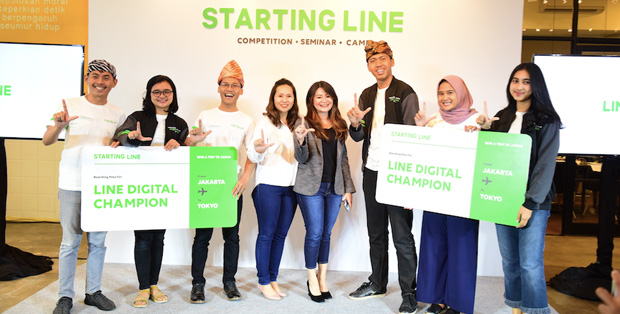 Foto : Revie Sylviana (Business Development Director LINE Indonesia)  bersama LINE Digital Champions