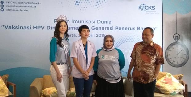 Putri Indonesia 2018 bersama dr. Cut Vanessa Rachmadian, Melly Goeslaw dan Prof. Dr.dr. Andrijono, SpOG(K)