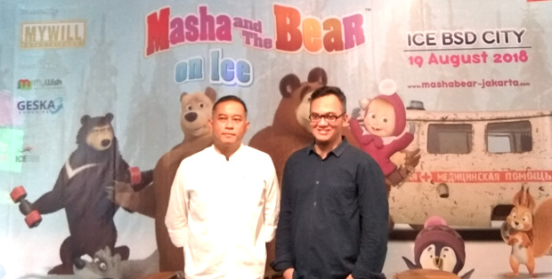 Yudha Kusumadijanto dan Willy Hidayat, promotor Masha and the Bear on Ice